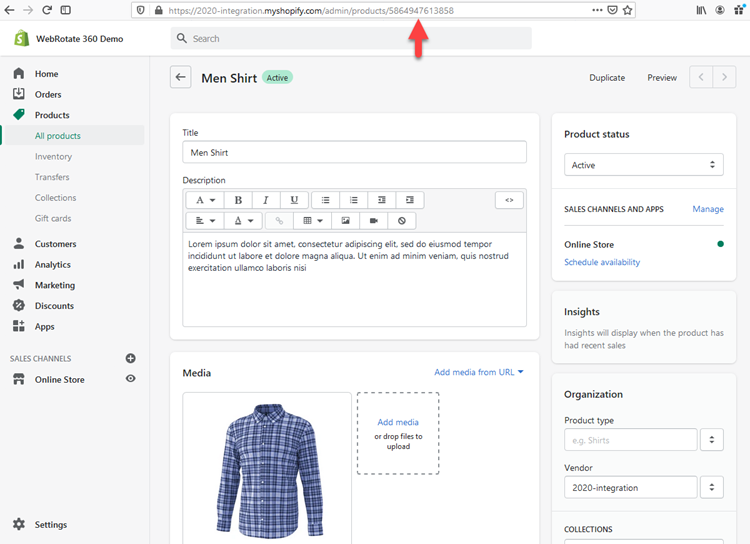 Shopify Id to Match 360 Product View in PixRiot