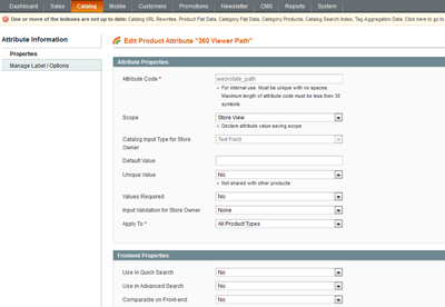 Create a new product attribute for 360 product view xml path