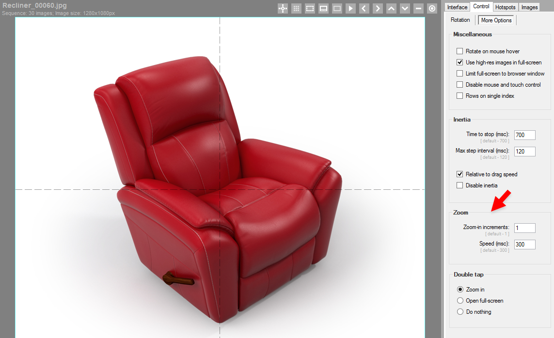 3D Product View Example - Incremental Zoom Setup