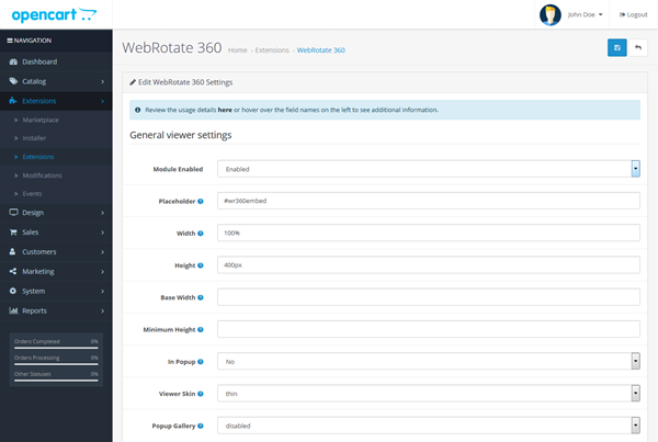 WebRotate 360 Product Viewer for OpenCart - Admin page 1