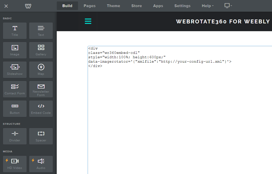 3D Product Spin For Weebly Paste Code