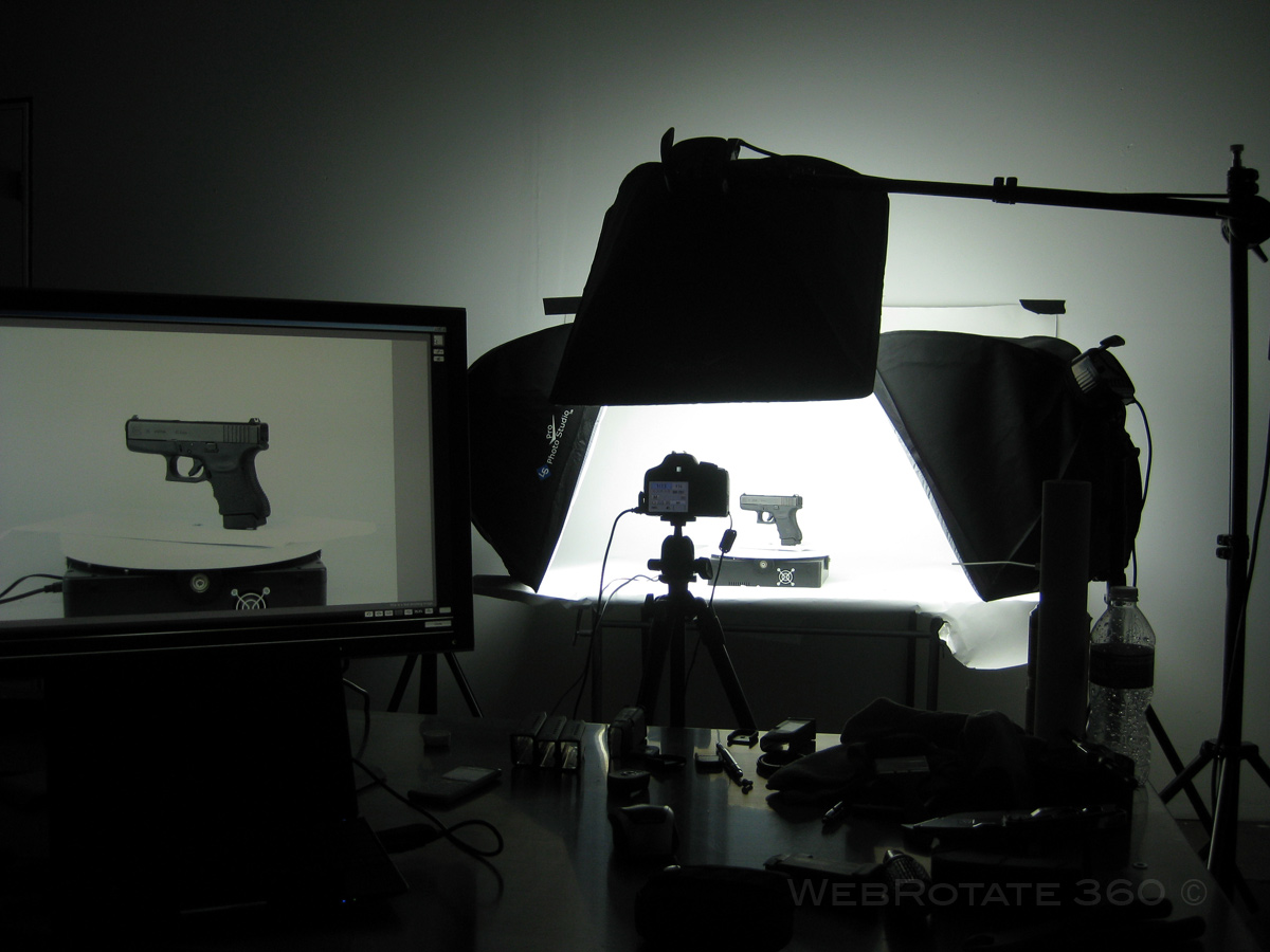 On location - 360 product photo setup for Glock