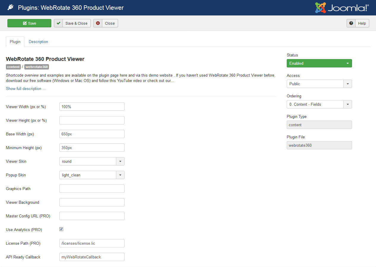 WebRotate 360 Product Viewer Plugin for Joomla!